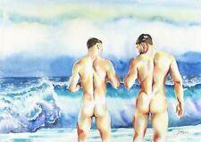 "PRINT of Original Art Work Watercolor Painting Gay Male Nude ""Storm"""