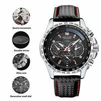 Men Big Dial Leather Band Waterproof Analog Quartz Calendar Business Wrist Watch