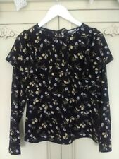 FASHION UNION BLACK YELLOW FLORAL FRILL SHOULDER BLOUSE TOP UK 8  BNWT NEW