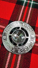 TC Highland Kilt Fly Plaid Celtic Brooches Grey Stone Silver Finish/Celtic Knot