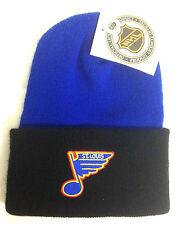 St Louis Blues Beanie Knit Cap 2 Tone Cuffed- Winter Stocking Hat NHL Hockey