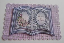 2 LILAC OPEN BIRTHDAY BOOK EMBELLISHMENT TOPPERS FOR CARDS AND CRAFTS