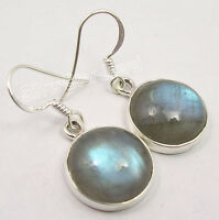 "925 Silver Authentic BLUE FIRE LABRADORITE RETRO STYLE Dangle Earrings 1.3"""