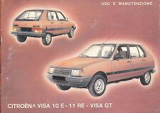 Libretto uso e manutenzione Citroen VISA 10 E - 11 RE - VISA GT