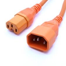Power Extension Cable IEC C14 Male Plug IEC C15 Female Socket 0.5metres ORANGE
