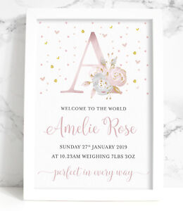 Personalised New Baby A4 Print, Pink or Blue, Floral Initial