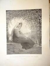 GRANDE LITHO PORTRAIT FEMME COSTUME ROME ROMA ITALIE ITALIA PAYSAN COIFFE 1850