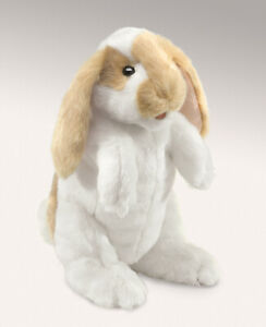 PLUSH SOFT TOY Folkmanis 2992 Standing Lop Bunny Rabbit Full Body Hand Puppet