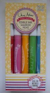EDIBLE CAKE MARKER PEN ICING INK Home baking 5 Food Colours Biscuit Decoration