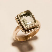 7.20Gm Natural Gemstone Green Amethyst Ring 925 Solid Sterling Silver US 8 S-54