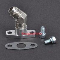 Turbo Oil Return Flange Kit w/ 45 Deg 8AN Fitting For Garrett GT25 GT28 38mm