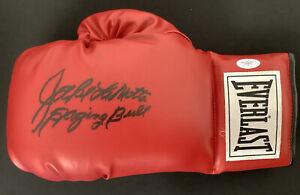Jake LaMotta Signed Boxing Glove Everlast Raging Bull Autograph Inscrip HOF JSA