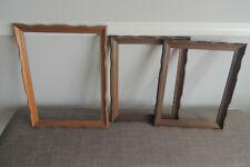 3 Vintage Pair Oak Wood Frames Arts & Crafts Fits 13 x 14 one light , 18 x 14