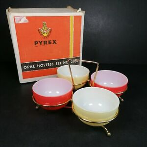 Vintage Pyrex Opal Hostess Retro Party Set Nibble x4 Bowls and Stand Boxed READ
