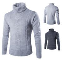 Fashion Pullover Cardigan Sweater Casual Men's Coat Turtleneck Knit Slim Fit
