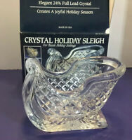 24% Lead Crystal Glass Sleigh Holiday Centerpiece Candy Dish Heavy