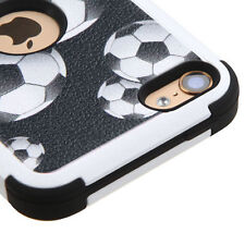 iPod Touch 5th & 6th Gen - Black White SOCCER BALL Hybrid Hard&Soft Rubber Case