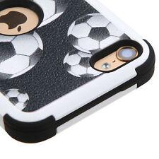 iPod Touch 5th & 6th Gen - Black White SOCCER BALL Hybrid Hard&Soft Rubber Case