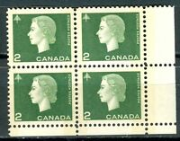 Canada #402p Corner Block 4 LR Cameo W2B Tagged MNH