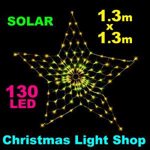 WARM WHITE Solar LED STAR Net Light GOLD Outdoor Christmas Garden Decoration