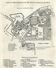 Mantova: Pianta Palazzo Ducale.Carta Topografica.Stampa Antica.Passepartout.1856