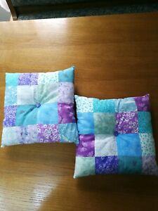 "Set of 2 Handmade Mini Patchwork Pillows 9"" x 9""  Purple Blue Aqua Cotton Ring"