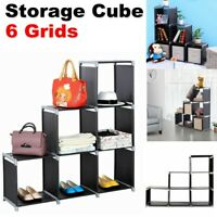 3 Tier Fabric Storage Cube Closet Organizer Shelf 6 Cubes Cabinet Bookcase Black