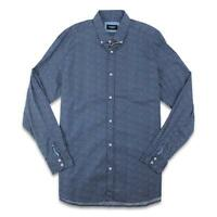 Hole Brook Mens Classic Button Up L/S Shirt Navy 2XL New