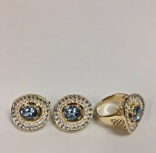 Blue Topaz, CZ Ring and Earrings Set 18k