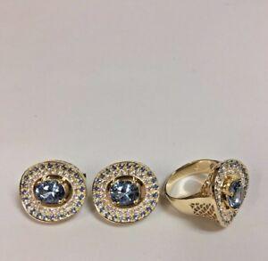 Blue Topaz, CZ Ring and Earrings Set 18k