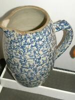 VTG Spongeware Pitcher Jug Jar Splatterware Pottery Glaze Primitive Blue White