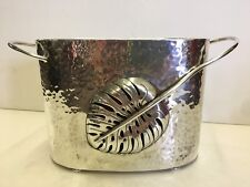 Emilia Castillo Tropical Leaf Hammered Ice Wine Champagne Bucket Mexican Silver