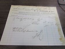 ANTIQUE - H.A. RODGERS & CO - RAILWAY & MACHINISTS SUPPLIES NYNY - 1870 BILLHEAD