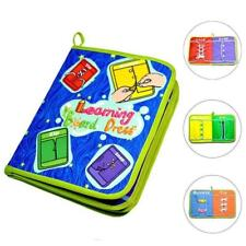 Kids Montessori Learn to Dress Boards Quiet Book Lace Snap Button Tie Zip Buckle