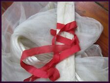 Lovely Old Unique Antique Delicate Airy Semi-Sheer Light Red Silk Ribbon Trim