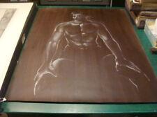 "Vintage original LESLIE SNOW (Feron) Art MALE SHIRTLESS gay interest 29 1/2x40"""