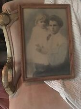 Large Antique Color Portrait Photo Woman & Child Framed Under Glass