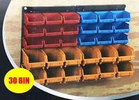 Plastic Bin Kit Wall Garage Storage Parts Bins Tool DIY Organiser Shelving Unit