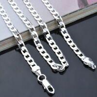 Cadena de Plata Pure Real 925 Sterling Silver Figaro Chains Necklaces Women Men