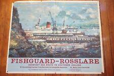 1960 Fishguard Rosslare Southern Ireland Original Railway Quad Poster Western