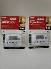 Prime 0869902 1-Outlet EZ-Set 24hr Digital Indoor Timer - 2 PACK