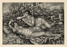 """LIMITED Pierre Auguste Renoir 1919 Engraving """"Peace after the Bath"""" FRAMED COA"""