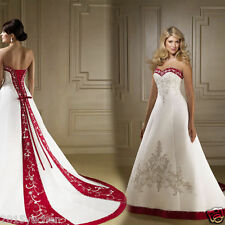 New Red and White Plus Size Embroidered Wedding Dress Bridal Gown Custom 6 -22++