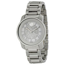 New Movado Bold Pave Crystal Dial Stainless Steel Braclet Women's Watch 3600254