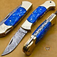 Damascus Steel Lock Back Folding Pocket Knife With Blue Acrylic Resign Handle