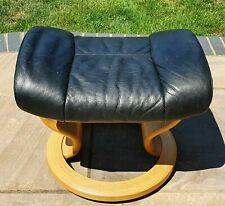 EKORNES Stressless Footstool, Black Leather, Wood Frame, 42cmW x 40cmD x 38cmH