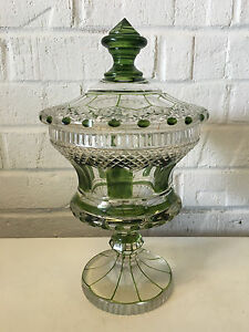 Antique Glass Possibly Dorflinger Green & Clear Covered Dish / Compote