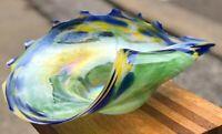 "16"" Studio Art Glass MACOCHA Poland Green Blue Ocean Dot Wave Swirl Shell Bowl"