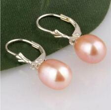 8x10mm Pink Akoya Cultured Pearl Earring Silver Hook