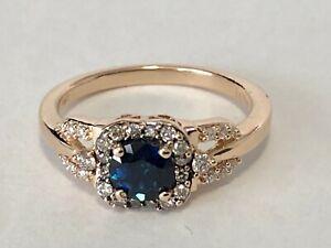 Le Vian 14K Rose Gold Blue Topaz Chocolate & Vanilla Diamond Ring 6.5